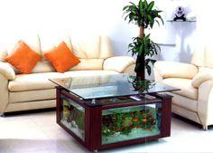aquarium design cochtisch glasplatte wohnzimmer