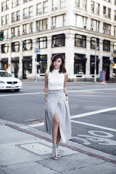 wrap skirt with white top