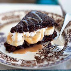 Chocolate Shortcakes with Bananas and Caramel   CookingLight.com
