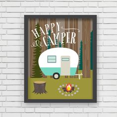 """With an effortless modern style, Lucy Darling offers a high-quality """"Happy Camper"""" camping themed art print designed to help celebrate the darling moments of a baby's life. • Perfect Nursery Wall Deco"""