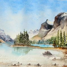 """I am late sharing my first watercolor for #worldwatercolormonth @worldwatercolorgroup This is for day 1 and prompt """"Strong and Free"""" and I chose to paint a Canadian landscape scene. Totally different colors than I use for my Swedish landscapes!!! Ill be back sharing the next prompts - just need better photol light! For more info visit my blog - Link in bio. Of course a little shout out to my Canadian friend Angela @angelfehr who is one of three people who made me take out my brushes again…"""