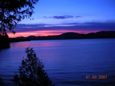Sunset view from Lake Champlain all-season vacation rental home.