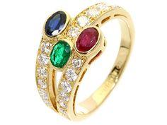 ブシュロン リング サファイア ルビー エメラルド ダイヤモンド K18YGイエローゴールド リングサイズ約13号 BOUCHERON ジュエリー 指輪 オーバル