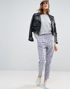 ASOS High Waisted Peg Pants in Summer Check