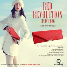 Red Ostrich Clutch Bag! Get One, Colorful Interiors, Red Color, Clutch Bag, Pu Leather, Fashion Forward, Range, Stuff To Buy, In Trend