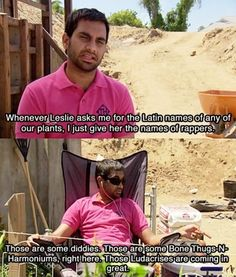 Tom Haverford kills me all the time on Parks and Recreation  *hahhaa look at those ludacrises