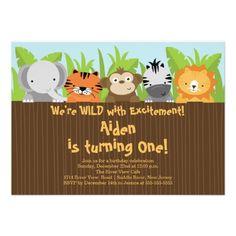 Cute Jungle Safari Zoo Animals Kids Birthday Personalized Invite