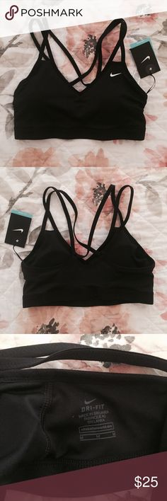 NWT Nike Pro Indy Sports Bra NWT black Nike sports bra with cross-cross straps. Light support, removable padding. Nike Intimates & Sleepwear Bras