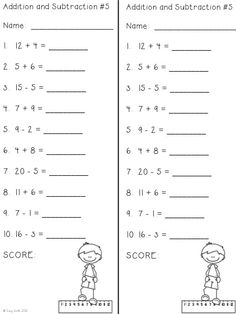 This is a two minute timed test for math fact fluency. There are 4 ...