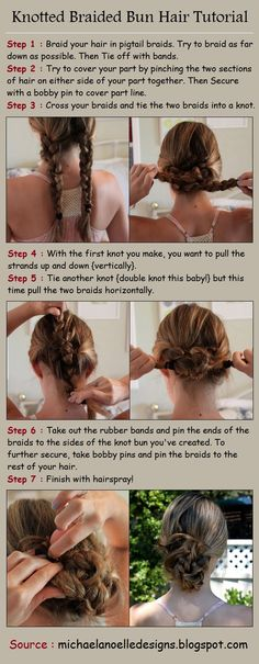 Knotted Braided Bun Hair Tutorial         did this the other day and french braided my hair back in two rows :)