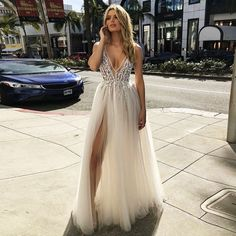 LORIE 2019 V Neck Beach Wedding Dresses Beaded High Split Backless A Line Tulle Sexy boho Bridal Gowns Vintage . 💢 If You Need More Ideas 💢 click Picture ❗❗ . Cute Prom Dresses, Prom Outfits, Backless Prom Dresses, Grad Dresses, Ball Dresses, Pretty Dresses, Homecoming Dresses, Bridal Dresses, Beautiful Dresses