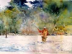 fisherman, fishing in the river, by charles reid
