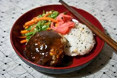 HAMBAGU - Hambagu is Japanese style hamburger steak (as opposed to hambaga, which are hamburgers in a bun). Hambagu is usually served on a plate along side vegetables and rice or bread, and seasoned with a demi-glace sauce.