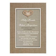 Burlap Wedding Invitations Post Wedding Reception Invitation -- Burlap