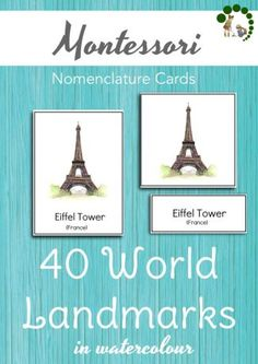 Montessori 40 World Landmarks Nomenclature Cards - Montessori Nature Printables - Learning about the world and culture. Continents Study.
