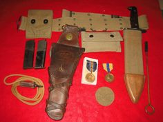 WWI US ARMY M1912 Holster W/ BELT & MEDICAL POUCH, (2) 2 tone mags & Bolo knife | eBay