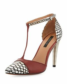 Franco T-Strap Leather Pump, Red-Silver by Rachel Zoe at Neiman Marcus Last Call.