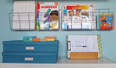 """Container Store magazine racks - I've been looking for a solution on how to display my """"Teacher Feature"""" books (those I've read aloud to the class)."""