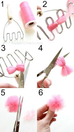 How to make a tulle pom-pom banner.  Just a few easy steps and a potato smasher!