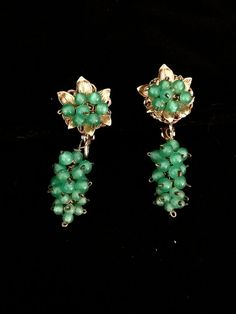 Vintage Jade Glass Grape Earrings by CoCoBlueTreasures on Etsy
