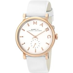 Marc by Marc Jacobs Women's MBM1283 Baker Rose-Tone Stainless Steel... ($195) ❤ liked on Polyvore featuring jewelry, watches, accessories, bracelets, white, leather wrist band watch, stainless steel jewelry, white wrist watch, stainless steel wrist watch and stainless steel watches