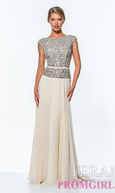 $518 Long High Neck Terani Dress with Cap Sleeves at PromGirl.com
