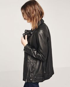 Image 1 of LONG LEATHER JACKET from Zara