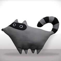 Gustave the Racoon by LaPetiteEcharlotte : Made of 100% cotton.  $52 #Plushie #Racoon #LaPetiteEcharlotte
