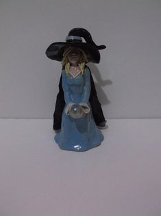 Pagan, Wicca, Witch with crystal ball, Altar Figurine, Hand Crafted, Ceramic