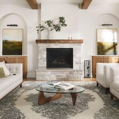 Wood Mantle Fireplace, Fireplace Built Ins, White Fireplace, Rustic Fireplaces, Farmhouse Fireplace, Living Room With Fireplace, Home Living Room, Stone Fireplace Makeover, Stucco Fireplace