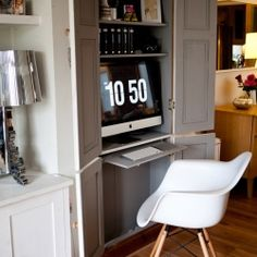 A stylish home office in a cupboard with loads of inspiration for home-workers!