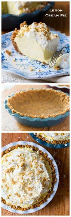 Stress-Free Lemon Cream Pie Recipe on http://ASpicyPerspective.com #pie #spring #easter