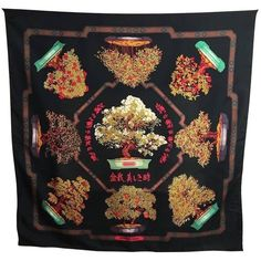 Preowned Bonsai Hermes Scarf (1.760 RON) ❤ liked on Polyvore featuring accessories, scarves, multiple, patterned scarves, hermès, silk shawl, hermes shawl and silk scarves