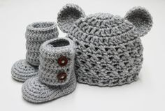 Croceted Baby Teddy Bear Beanie and Baby Booties in Gray (size 0-3, 3-6, 6-9, 9-12 months) on Etsy, $34.99