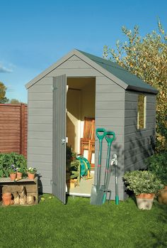 Somerset Green colour paint ideal for Garden Sheds, Planters, Garden Furniture and Bird Boxes Painted Garden Sheds, Painted Shed, Painted Garden Furniture, Shed Design, Garden Design, Allotment Shed, Blue Shed, Cuprinol Garden Shades, Shed Colours