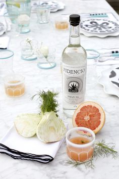 COCKTAIL RECIPE :: THE ROOFTOP - coco kelley mezcal grapefruit and fennel cocktail recipe tabletop