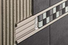 Listello tile trim in aluminum (decorative) Schlüter-QUADEC-FS Schluter-Syste Room Tiles, Wall Tiles, Tile Bedroom, Schluter Tile Edge, Metal Edging, Joinery Details, Tile Trim, Diy Décoration, Tile Design