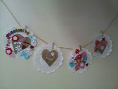 Valentine art made into a garland :)
