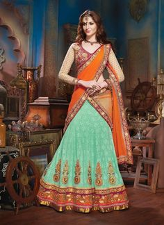 Vivacious Cyan Blue Lehenga Choli in #lehnga #wedding #bridal #shaadi #women #bride #LehengaCholi #ethnic #wear #desiwedding #asianclothes #bollywood #indian #trendz #indiantrendz