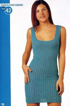 Blue Tank Dress free crochet graph pattern