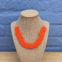 Orange Braided Statement Necklace, Orange  Bib Necklace, Chunky Necklace, Braided Necklace, Neon Orange Bib Necklace, Bright Orange Necklace