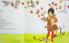 """Jennie feeds the birds From """"Jennie's Hat"""" by Ezra Jack Keats, 1966."""