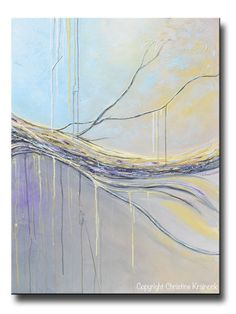 """Luminosity"" Original #Art Abstract #Painting Blue Gold Grey Textured Coastal Contemporary Fine Art. Shades of white, grey, pale yellow, gold, grey, beige, & purple eggplant come together in stunning layers in this modern abstract creating a unique piece which possesses a surreal, light, organic feel. Mixed media acrylic original artwork on large 30x40x1.5"" gallery wrapped canvas. ~By Collected California Artist, Christine Krainock"