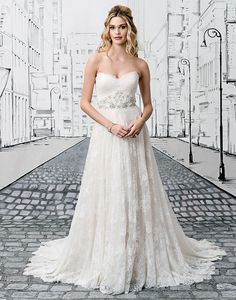 Elegant and timeless, this chantilly lace ball gown is enhanced with romantic details. A charming sweetheart neckline, floral beaded waistband, elegant tulle-covered buttons and sweeping chapel train make this Justin Alexander favorite unforgettable. Wedding Dress Pictures, Wedding Dress Styles, Designer Wedding Dresses, Justin Alexander Bridal, White Wedding Gowns, Lace Ball Gowns, Beautiful Prom Dresses, Gorgeous Dress, Sophisticated Bride
