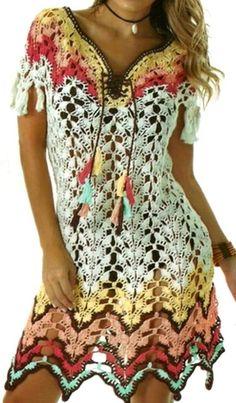 Crochet Wool, Crochet Cardigan, Knit Dress, Beach Crochet, Crochet Summer Dresses, Mode Outfits, Crochet Fashion, Beautiful Crochet, Crochet Clothes