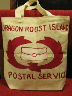Legend of Zelda - Wind Waker Dragon Roost Island Postal Service Tote. (Sold) http://sneakycoon.etsy.com