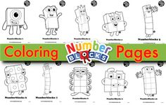 Numberblocks Coloring Pages Printable Math Worksheets, Printable Numbers, Free Printable Coloring Pages, Coloring Sheets For Kids, Colouring Pages, Coloring Books, Kids Colouring, Preschool At Home, Preschool Activities