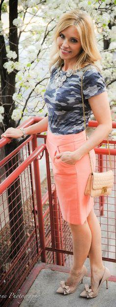 Gray camo T shirt & a peach pencil skirt
