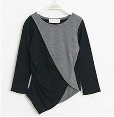 Irregular cut color block side ruffle black & grey  sleeve T-shirt factory wholesale