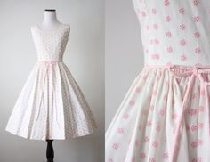 1950s dress - pink embroidered 50s dress